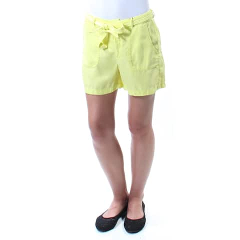 KIIND OF Womens Yellow Belted Short Size: L