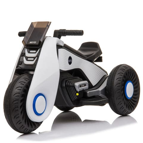 """Children's Electric Motorcycle 3 Wheels Double Drive White cool - 7'6"""" x 9'6"""""""