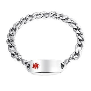 Bling Jewelry Mens Stainless Steel Figaro Chain Medical Alert ID Bracelet