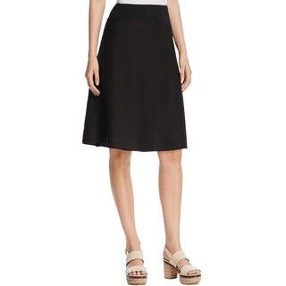 Three Dots Womens Flare Skirt Linen Comfort Waist