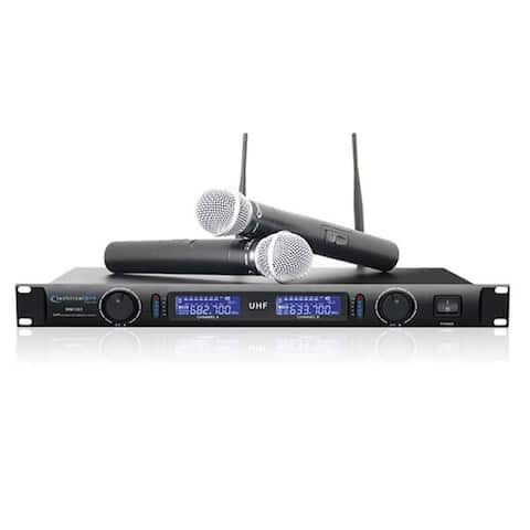 Technical Pro Professional UHF Dual Wireless Microphone System-Black