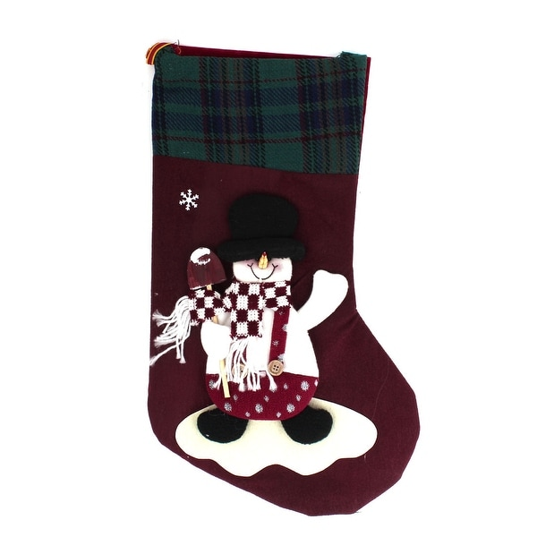 Snowman Accent Christmas Stocking Gift Holder Burgundy Green for Xmas Tree Decor