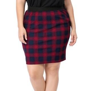 Allegra K Women's Plus Size Plaids Elastic Waistband Pencil Skirt - Red