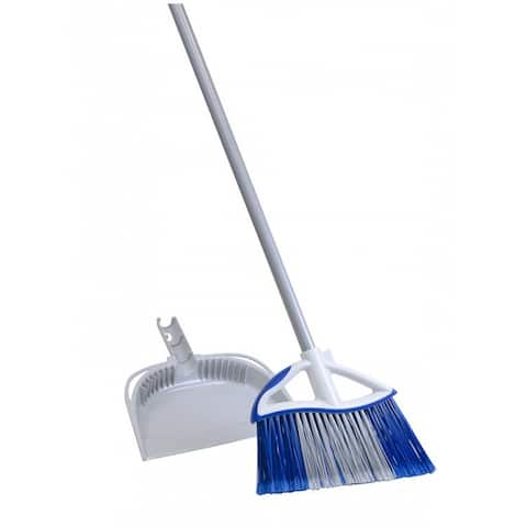 """Quickie 72750-72409 Dual Action Angle Broom with Dust Pan, 48"""" Steel Handle"""