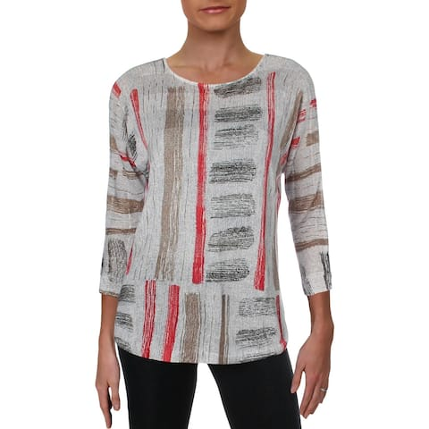 Nic + Zoe Womens Paradise Peponi Pullover Top Linen Blend Printed