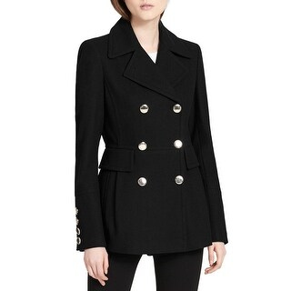Calvin Klein Black Womens Size Medium M Double-Breasted Peacoat