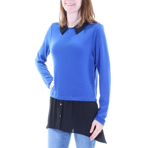 NY COLLECTION Womens Blue Long Sleeve Jewel Neck Trapeze Top Size: S