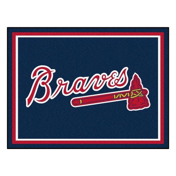 MLB Atlanta Braves 8 x 10 Foot Plush Non-Skid Area Rug