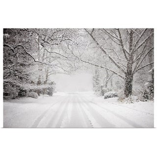 """""""Snowy road in snow storm"""" Poster Print"""