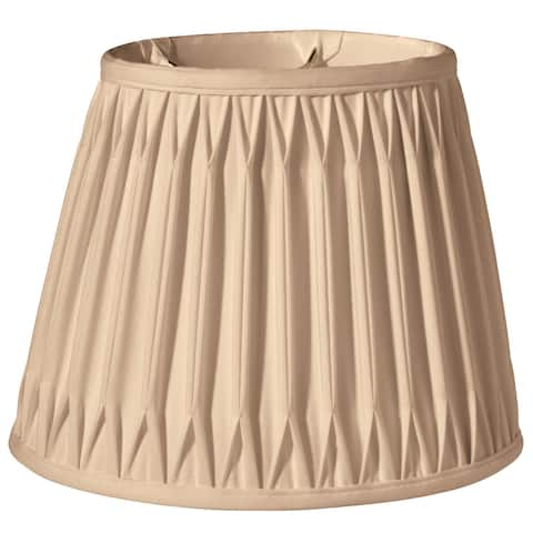 Cloth & Wire Slant Oval Double Smocked Pleat Softback Lampshade with Washer Fitter, Vintage Gold