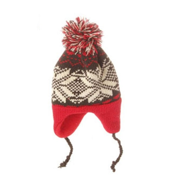 "7"" Alpine Chic Red, Black and Cream Nordic Snowflake Design Knit Hat Christmas Ornament - RED"