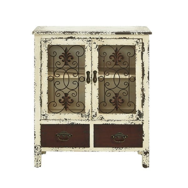 "Powell Home Fashions 990-332 Parcel 25 1/2"" Wide 2 Drawer Storage Cabinet with Distressed Finish - Layered Antique White"