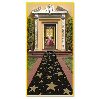 Pack of 6 Awards Night Themed Gold Star Black Path Runner Party Decorations 10'