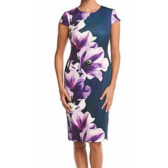 5ce3305a Shop Vince Camuto NEW Blue Womens Size 10 Floral Print Scuba Sheath Dress -  Free Shipping Today - Overstock - 20510816