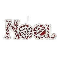 Roman 6389300 Red & White Stained Glass Noel Christmas Ornament