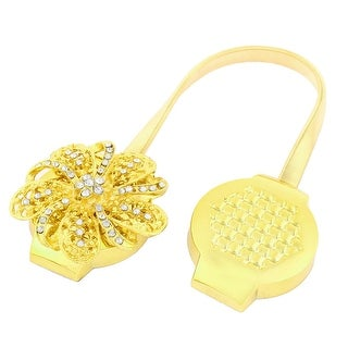 Flower Shaped Crystal Decor Magnetic Curtain Clip Tie Back Holdback Gold Tone