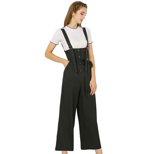 Women's Button Front High Waist Belt Straight Overall Jumpsuit. Opens flyout.
