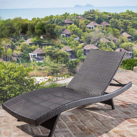 Mcombo Wicker Lounge Chaise Patio Outdoor Adjustable Chair Furniture 6082-LCBK