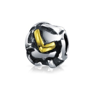Bling Jewelry Initial Letter L Alphabet Bead Charm Gold Plated .925 Sterling Silver