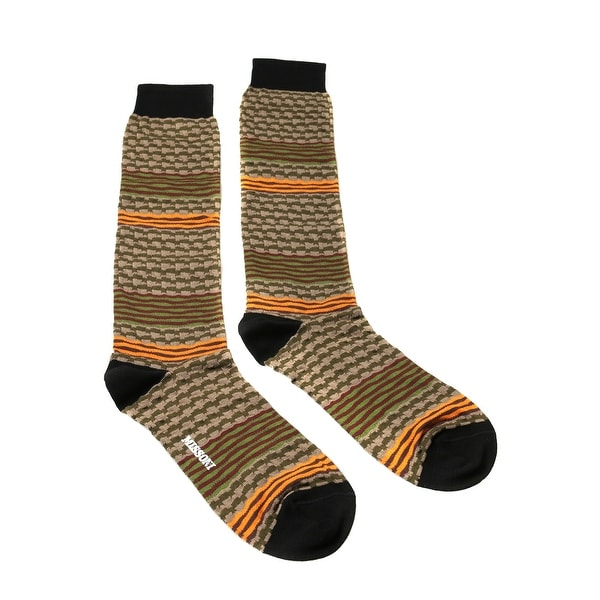 Missoni GM00CMU5238 0001 Tan/Olive Mixed Stripe Knee Length Socks - S