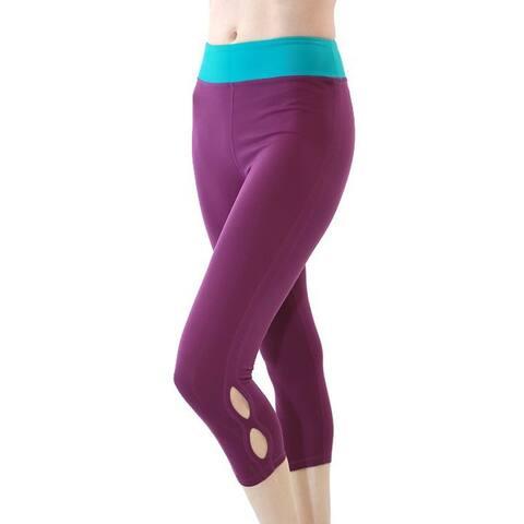 Veva by Very Vary Women Sky Blue Violet Capri Leggings