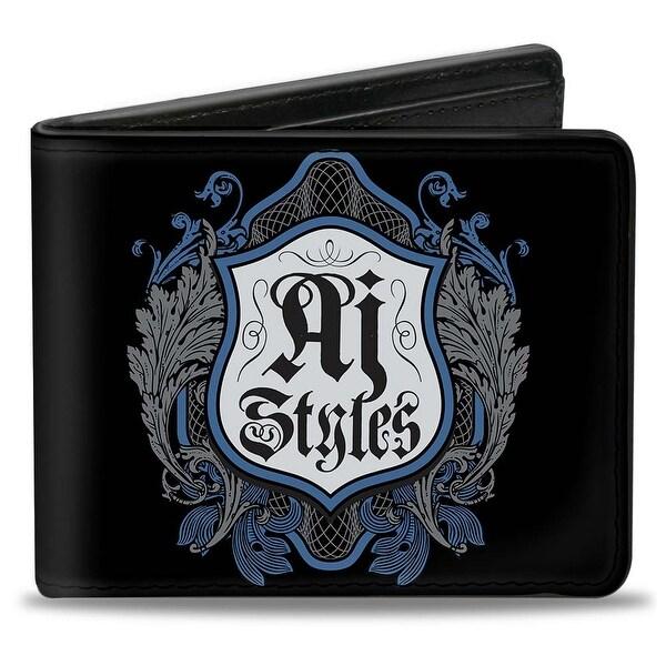Aj Styles Crest Black Blue Grays Bi Fold Wallet - One Size Fits most