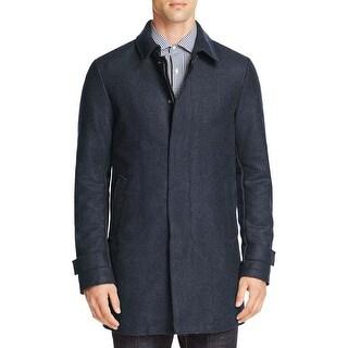 Herno Mens Blue Heather Wool Blend Padded Zip Coat X-Large 54
