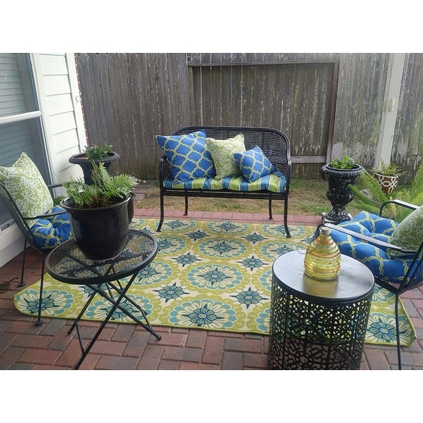 shop palm canyon ceres floral green ivory indoor outdoor area rug