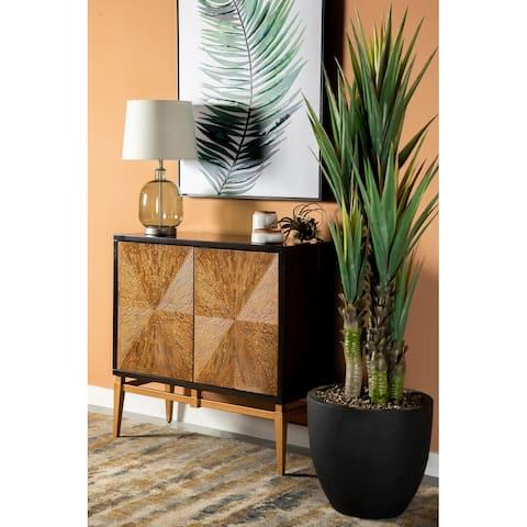 Sloan Antique Gold and Brown Sunburst Doors Accent Cabinet