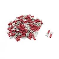 Unique Bargains 100 Pcs Red Plastic End Rewirable Crimp Spade Insulation Terminal