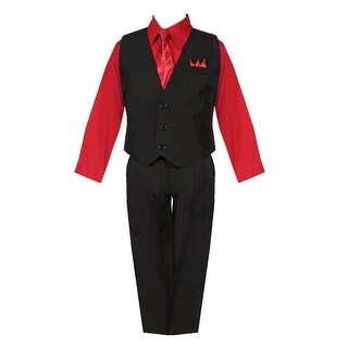 Boys Black Red Shirt Vest Pants Neck Tie Pocket Hanky 5 pcs Suit 8-20