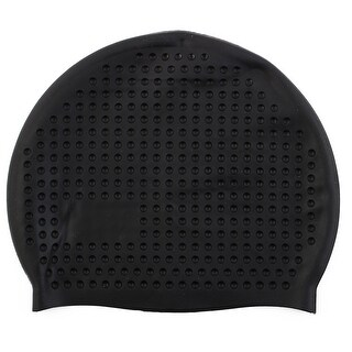 Adult Silicone Dome Shape Water Resistant Elastic Swimming Cap Bathing Hat Black