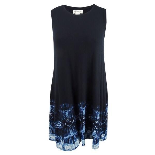 Style & Co. Women\'s Plus Size Printed Sleeveless A-Line Dress - Border Dye