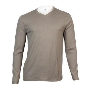 John Ashford Men's Ribbed V-Neck Shirt (Mocha Heather, M) - M