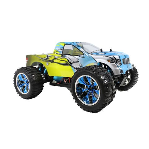 ALEKO Brushless PRO Off-Road 4WD Electric 1:12 Scale RC Truck Blue/Yellow Flame Design - 16.5 x 12 x 7.8 inches
