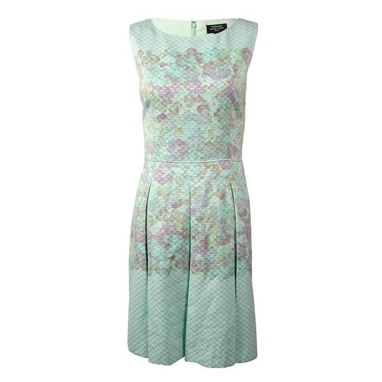 665045b149fd Tahari Women's Floral Jacquard Pocket A-Line Dress - seafoam green