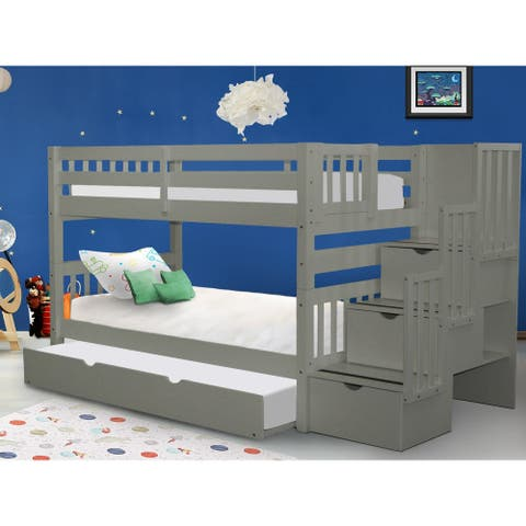 Taylor & Olive Trillium Grey Twin-over-Twin Bunk Bed with Trundle