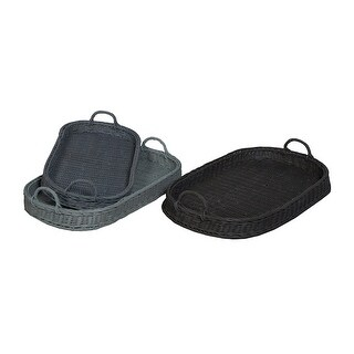 GuildMaster 284501S  3 Piece Hand Woven Rattan Tray Set - Blue / Black