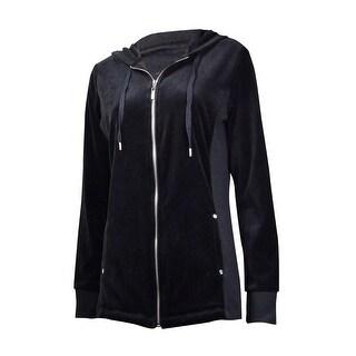 Style & Co. Women's Knit-Sides Velour Zip Jacket
