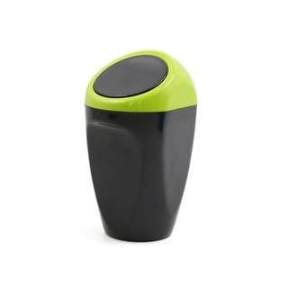 Plastic Push Lid Portable Garbage Trash Can For Home Office Vehicle Car  Black