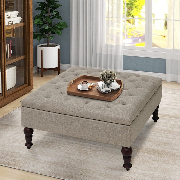 Maypex 35-inch Traditional Tufted Square Storage Ottoman. Opens flyout.