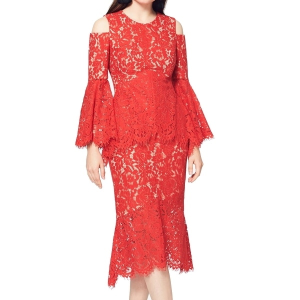Shop Fame And Partners New Red Womens Size 4 Lace Cold Shoulder Sheath