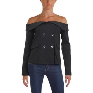 Aqua Womens Three-Button Blazer Off-The-Shoulder Long Sleeves