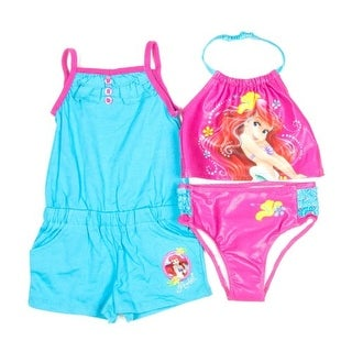 Disney's Baby Girls' Ariel 3 Piece Tankini with Romper Toddler Swim Upf50 (24 Months)