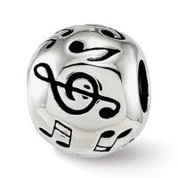Sterling Silver Reflections Enameled Musical Notes Bead (4.5mm Diameter Hole)
