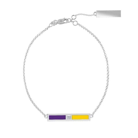 East Carolina University Sterling Silver Diamond Bar Chain Bracelet In Purple & Yellow