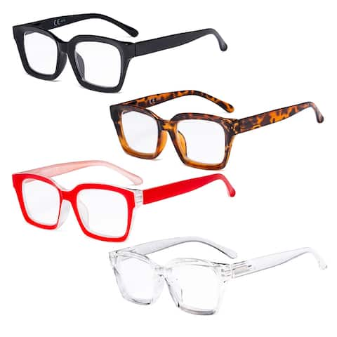 Eyekepper 4 Pack Ladies Reading Glasses Oversized Square Reader