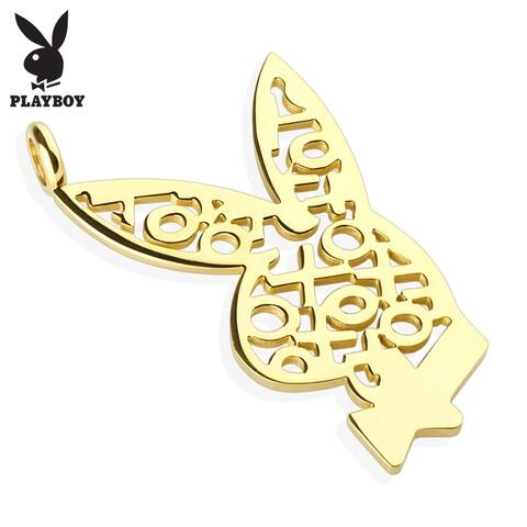 Playboy Logo XOXO Gold IP 316L Surgical Steel Bunny Pendant (28 mm Width)