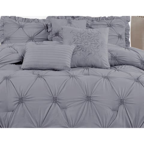 Premium Microfiber Down Alternative Quilted 7 Piece Comforter Set