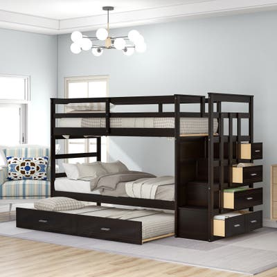 Twin Over Twin Wood Bunk Bed for Kids with Trundle and Staircase(4 Storage Drawers), Espresso